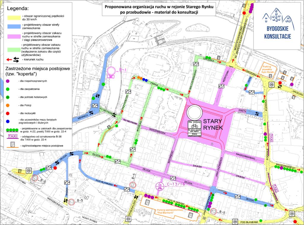 przebudowa Starego Rynku w Bydgoszczy - plan stałej organizacji ruchu